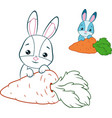 rabbit and carrot coloring page vector image vector image