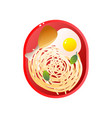 red plate with chicken drumstick pasta and fried vector image vector image