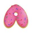 rose glazed donut font concept with blue sprinkles vector image vector image