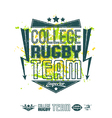 Rugby emblem bright print and design elements vector image vector image