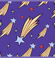 seamless pattern of flying stars cartoon style vector image
