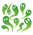 set green cartoon ghosts with emotions spirits vector image vector image