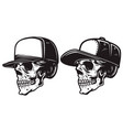 set skull in baseball cap in monochrome vector image vector image