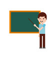 teacher with pointer showing on board on lesson at vector image