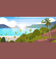 tropical landscape summer seaside beach with palm vector image vector image
