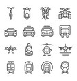 vehicle front line icon set vector image