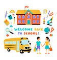 welcome back to school cute doodle colorful set vector image