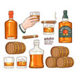 whiskey alcohol symbols sketch icon set vector image vector image