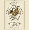 wine label with a hand-drawn bunch grapes vector image vector image