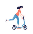 woman riding kick scooter over white background vector image vector image