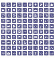 100 contact us icons set grunge sapphire vector image vector image