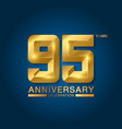 95 years anniversary celebration logotype golden vector image vector image