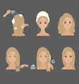 applying hair mask young girl styling her hair vector image