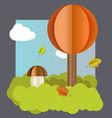 autumn landscape tree mushroom leaves vector image