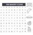 bakery editable line icons 100 set vector image