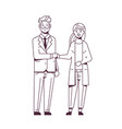 businesspeople man woman handshaking business vector image vector image