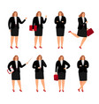 businesswoman poses collection vector image vector image