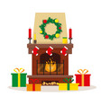 christmas fireplace with decoration and gifts vector image vector image