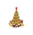 christmas tree 3d flat vector image vector image