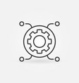 circle with gear linear icon computer vector image