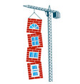 construction crane and walls with windows vector image vector image