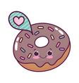 cute food donut speech bubble love sweet dessert vector image