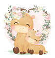 cute mommy and bagiraffe vector image
