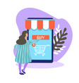 female character buying products and items online vector image