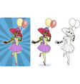 female clown circus character vector image vector image