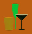 flat shading style icon cocktail glasses vector image vector image