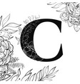 flower alphabet letter c pattern vector image vector image