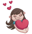 Girl in love holding a heart vector image vector image