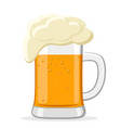 glass of beer with foam on white background vector image