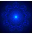 Hand drawn shine blue flower mandala over dark vector image vector image