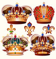 heraldic collection of colored crowns decorated vector image
