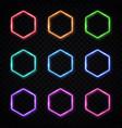 hexagon neon banners set glowing electric borders vector image vector image