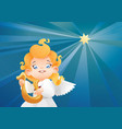 kid angel musician harpist flying on a night sky vector image vector image