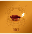 lovely happy diwali diya design template vector image vector image