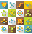 molecule icons set flat style vector image vector image