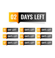 number days left sticker design vector image vector image