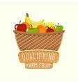 painted logo design full fruit basket vector image vector image