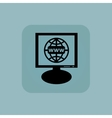 Pale blue global network monitor vector image vector image