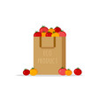 paper bag package with fresh red yellow tomato vector image vector image