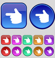 pointing hand icon sign A set of twelve vintage vector image vector image