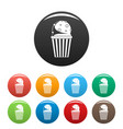 popcorn icons set color vector image vector image