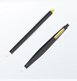 realistic black pen set vector image