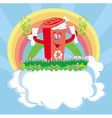 Recycling red bin with papers - character vector image vector image
