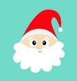 santa claus face head wearing red hat big beard vector image