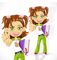 Schoolgirl with a textbook making victory sign vector image vector image