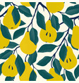 seamless pattern with yellow pear fruit vector image